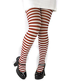 White and Red Striped Tights