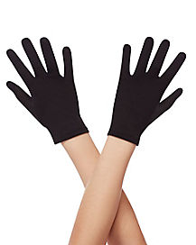 Kids Black Short Gloves