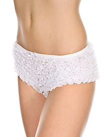 White Ruffle Tanga Shorts