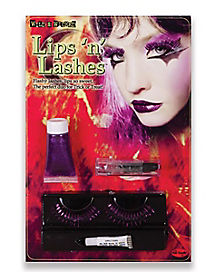 Purple and Black Glitter Lips and Lashes Kit