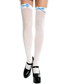 Thigh High Opaque Stockings w/ Gingham Bow