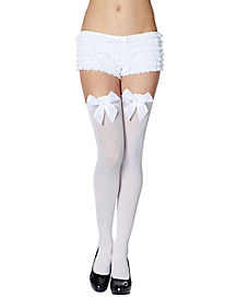 Thigh High White Tights with Bow