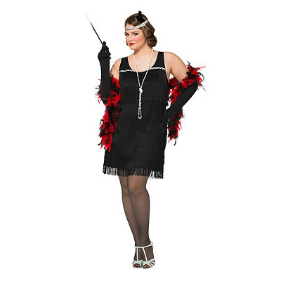 Vintage Inspired Halloween Costumes Adult Black Charleston Cutie Flapper Plus Size Costume $34.99 AT vintagedancer.com
