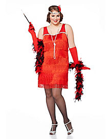 Red Flapper Adult Womens Plus Size Costume