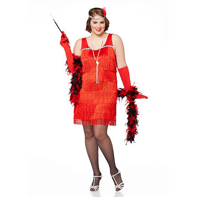 Vintage Inspired Halloween Costumes Adult Red Flapper Plus Size Costume $34.99 AT vintagedancer.com