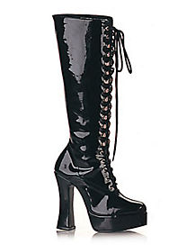 Womens Lace Up Knee High Black Boots