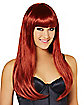 Long Auburn Wig with Bangs