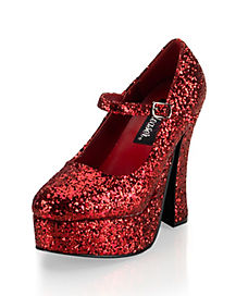 Womens Red Glitter Mary Jane Platform Shoes