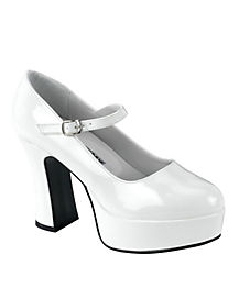 Womens White Patent Mary Jane Platform Shoes