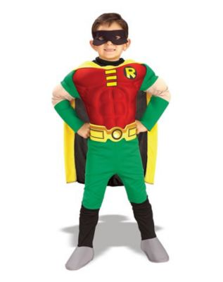 boy wearing a teen titans costume
