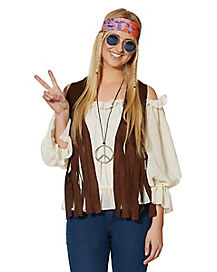 Adult Faux Suede Fringed Hippie Vest Costume