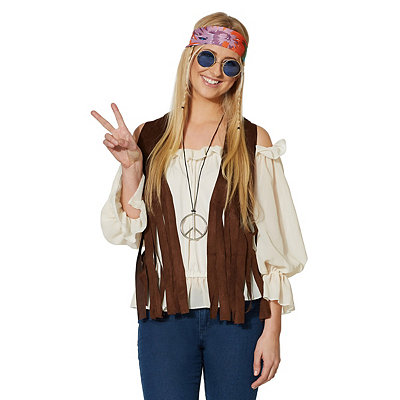 Vintage Inspired Halloween Costumes Adult Faux Suede Fringed Hippie Vest Costume $16.99 AT vintagedancer.com