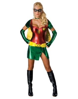 woman wearing a robin costume for halloween