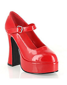 Womens Red Mary Jane Platform Shoes