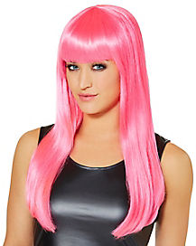 Hot Pink Adult Wig with Bangs