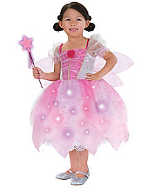 Kids Light Up Pink Fairy Costume