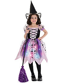 Kids Light Up Black and Pink Witch Costume