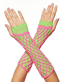 Neon Lace Gloves