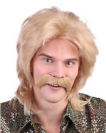 70's Man Blonde Wig with Mustache