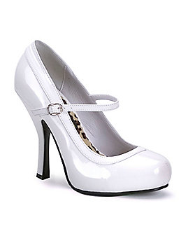 White Mary Jane Heels