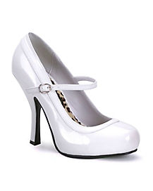 Womens White Mary Jane Thin Heel Shoes