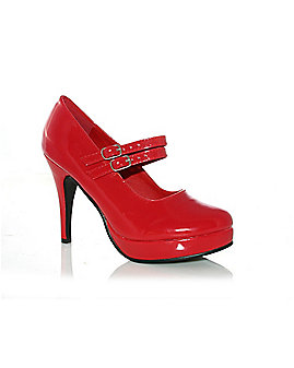 Womens Red Mary Jane Thin Heel Shoes