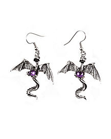Purple Stone Dragon Earrings