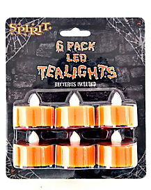 6 Pack Flameless Orange Tealights