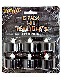 6 pack Flameless Black Tea Lights
