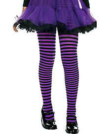 Purple and Black Striped Girls Tights