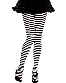 Black and White Striped Girls Tights