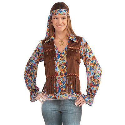 Vintage Inspired Halloween Costumes Adult Hippie Groovy Girl Costume $29.99 AT vintagedancer.com