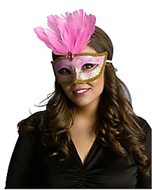 Pink and Gold Festive Party Mask