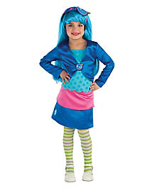 Strawberry Shortcake Blueberry Muffin Girls Costume with Wig