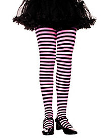 Pink and Black Striped Girls Tights