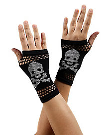 Skull & Crossbones Fingerless Gloves