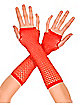 Red Diamond Net Fingerless Gloves