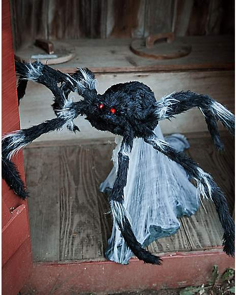 21 inch black jumping spider animatronics decorations for Animated spider halloween decoration