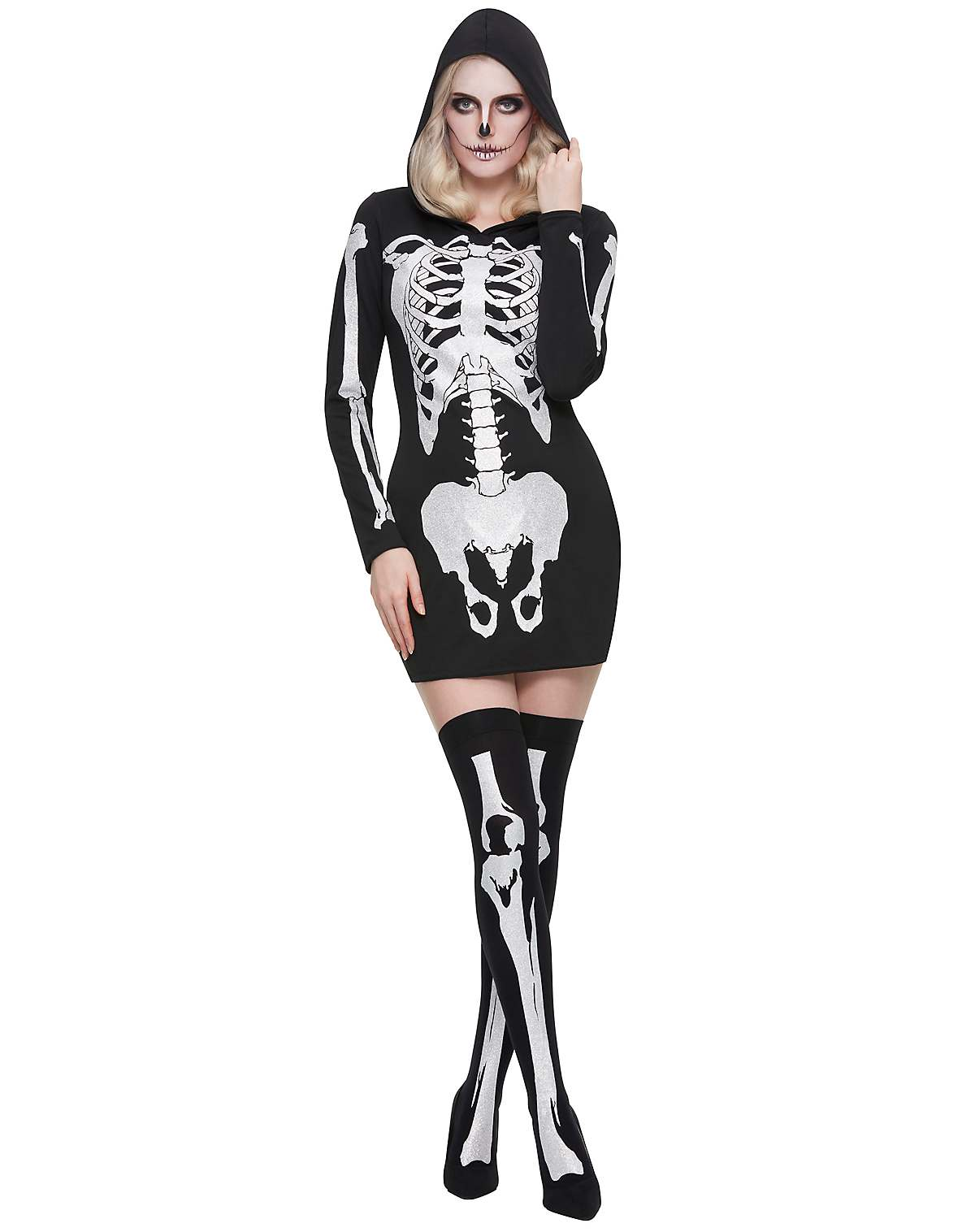 Hooded holographic skeleton costume