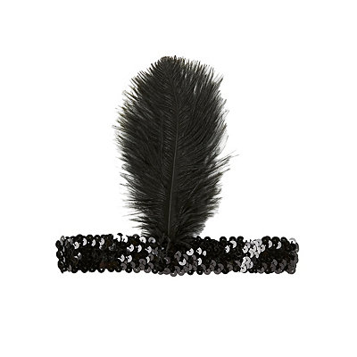 1920s Flapper Headbands Black Feather Headband $5.99 AT vintagedancer.com