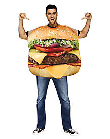 Flat Cheeseburger Adult Costume