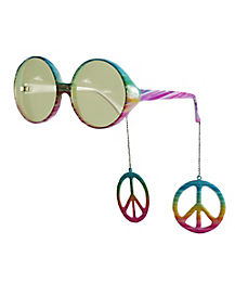 Hippie Glasses w/Dangle Peace Signs
