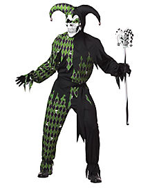 Adult Green and Black Jester Costume