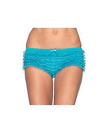 Lace Ruffle Blue Tanga Shorts