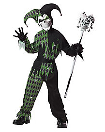 Kids Green and Black Jester Costume