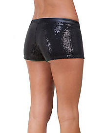 Sequin Booty Shorts - Black