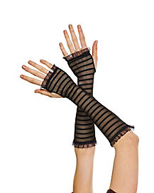 Striped Fishnet Arm Warmers