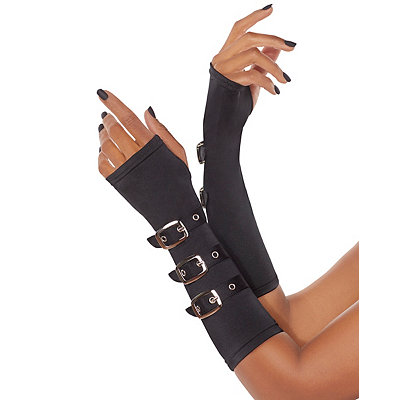 Steampunk Accessories Black Buckled Arm Warmers $12.99 AT vintagedancer.com