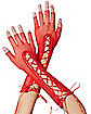 Red Lace Up Fishnet Arm Warmers