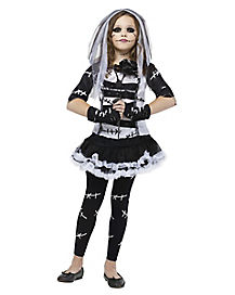 Kids Black and White Monster Bride Costume